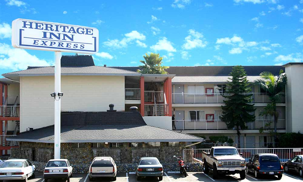 Exterior of our affordable motel in Hayward, CA